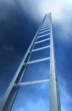 photo shows ladder reaching up to the sky - the career ladder